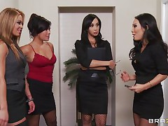 These four sexy babes are going to make an offer to their boss her indeed can't refuse. See how the first one goes and and takes her clothes off and shows her big tits the same like the rest of them. They show him how hard they can work as group sucking his hard cock and making him cum.