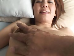 Pretty Asian mother i'd like to fuck sucks on hard jock and her unshaved cunt fingered